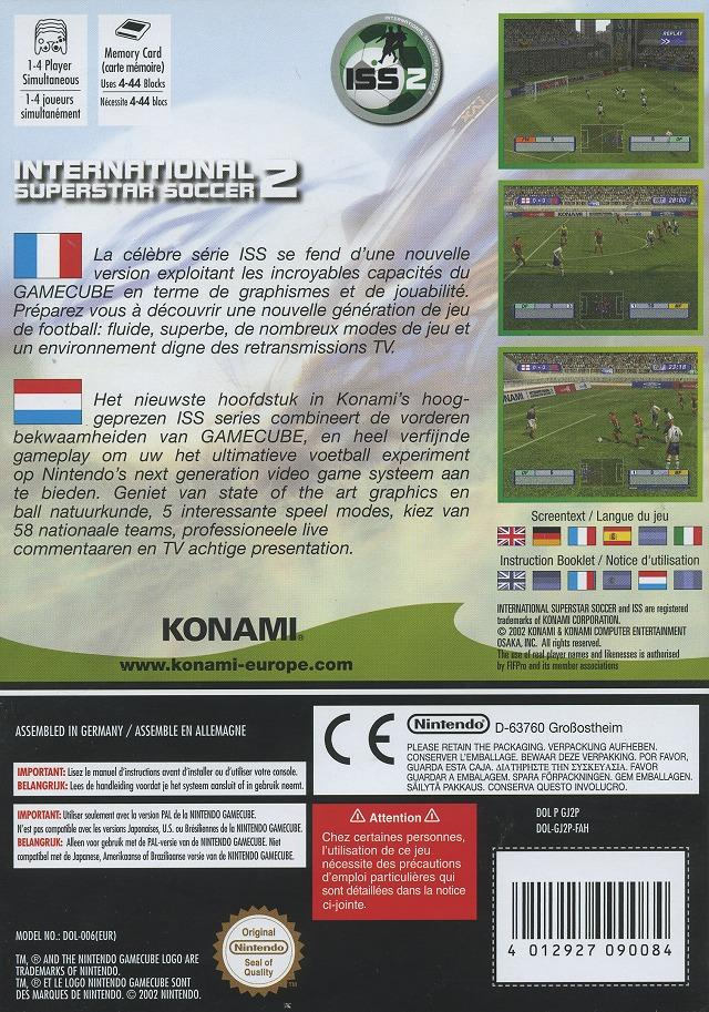 Back boxart of the game International Superstar Soccer 2 (France) on Nintendo GameCube