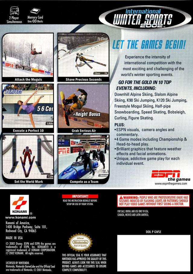 Back boxart of the game ESPN International Winter Sports (United States) on Nintendo GameCube