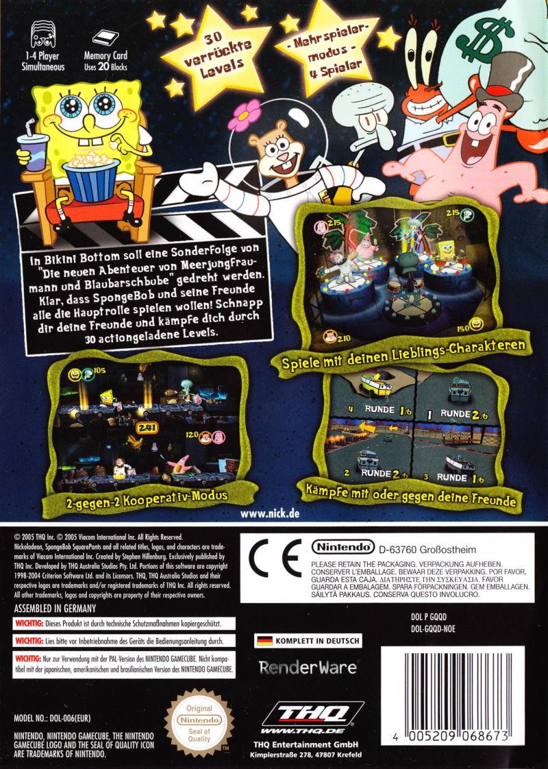 Back boxart of the game SpongeBob Schwammkopf - Film ab! (Germany) on Nintendo GameCube