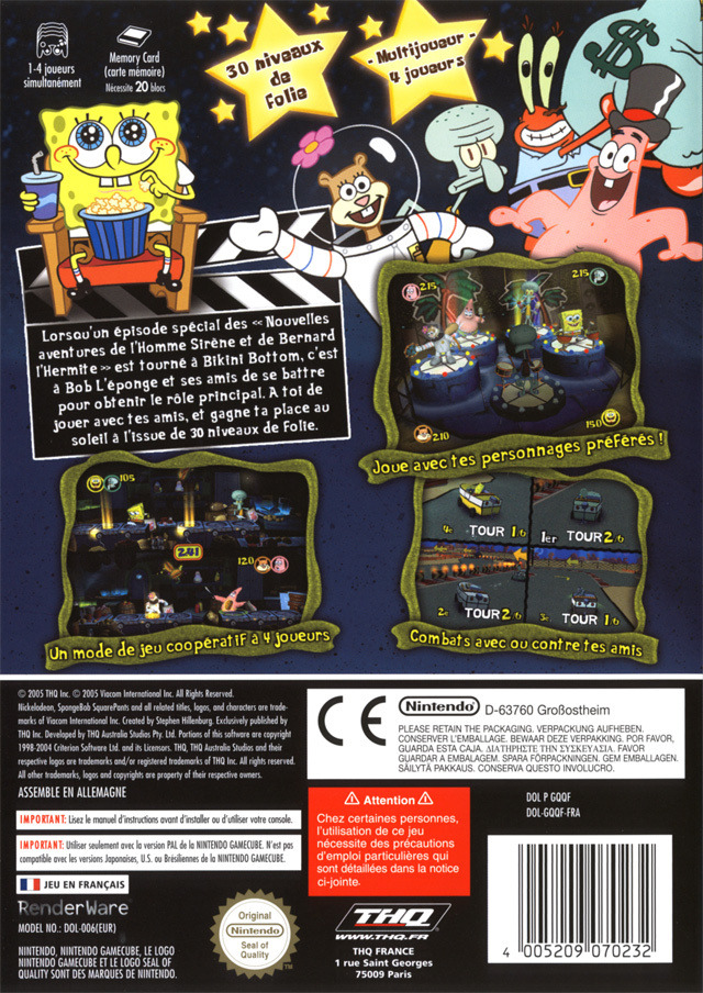 Back boxart of the game Bob L'eponge - Silence on Tourne! (France) on Nintendo GameCube