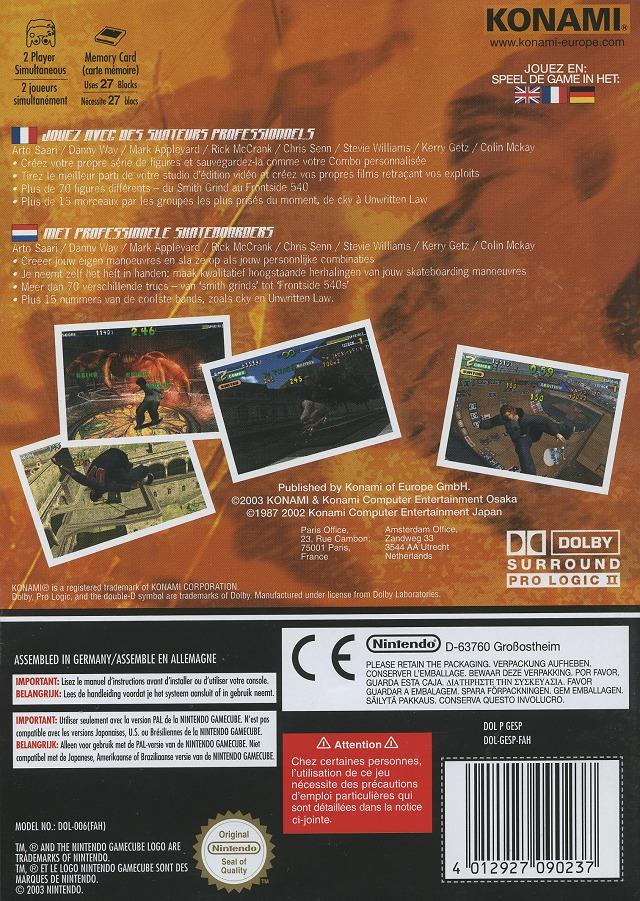 Back boxart of the game Evolution Skateboarding (France) on Nintendo GameCube
