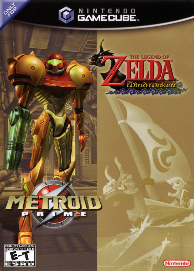 Front boxart of the game Legend of Zelda, The - The Wind Waker / Metroid Prime (United States) on Nintendo GameCube