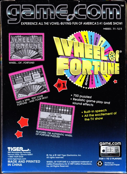 Back boxart of the game Wheel of Fortune (United States) on Tiger Game.com