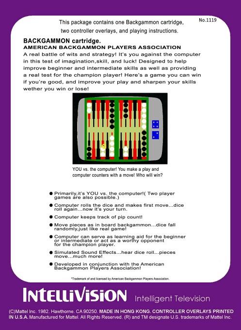 Back boxart of the game ABPA Backgammon on Mattel Intellivision