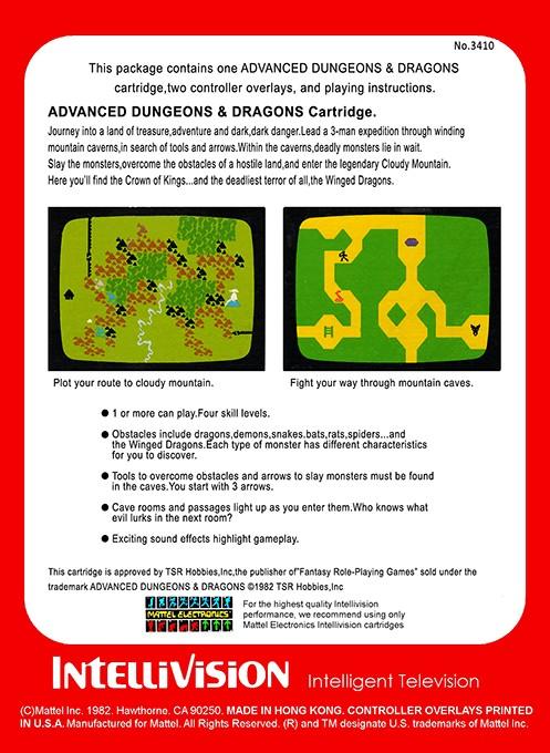Back boxart of the game Adventure (United States) on Mattel Intellivision
