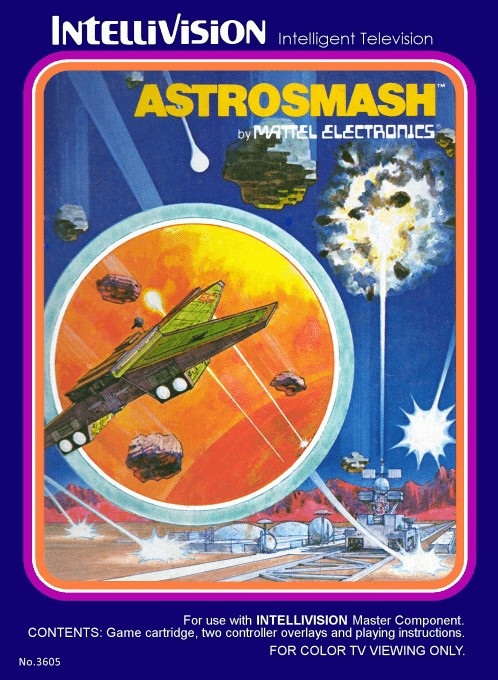 Front boxart of the game Astrosmash on Mattel Intellivision