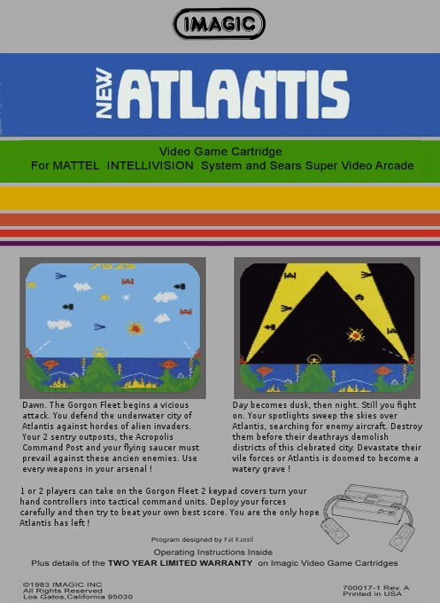 Back boxart of the game Atlantis on Mattel Intellivision