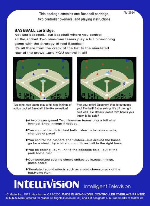 Back boxart of the game Baseball on Mattel Intellivision