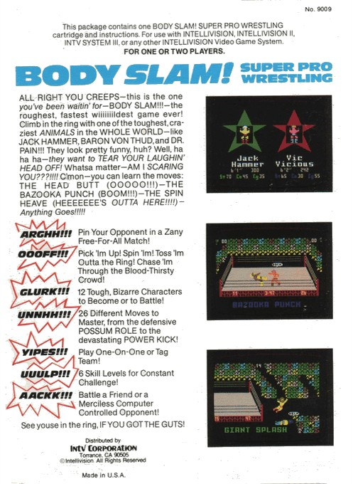 Back boxart of the game Body Slam - Super Pro Wrestling on Mattel Intellivision