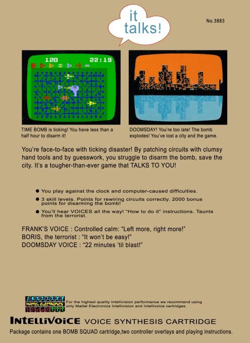 Back boxart of the game Bomb Squad on Mattel Intellivision