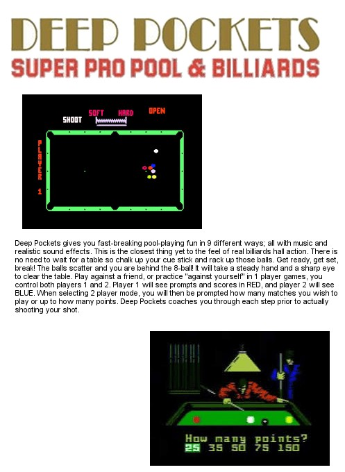 Back boxart of the game Deep Pockets-Super Pro Pool and Billiards on Mattel Intellivision