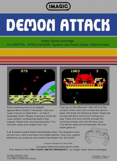 Back boxart of the game Demon Attack on Mattel Intellivision