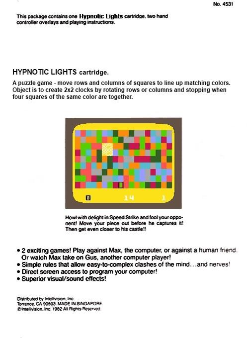 Back boxart of the game Hypnotic Lights on Mattel Intellivision