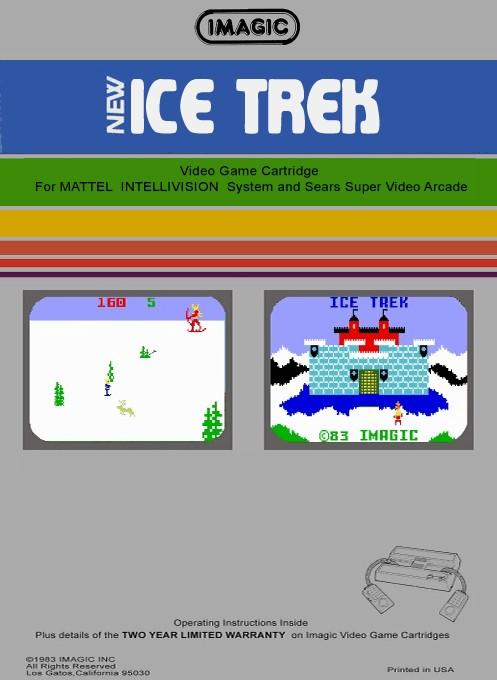Back boxart of the game Ice Trek on Mattel Intellivision