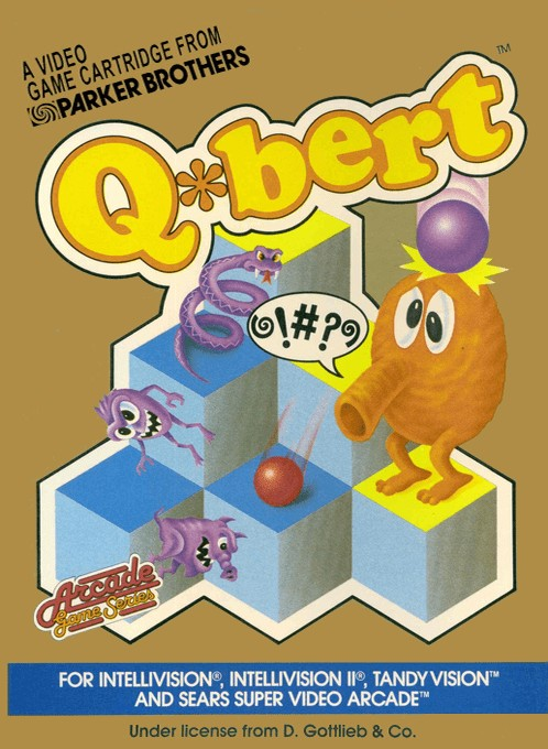 Front boxart of the game Q-bert on Mattel Intellivision