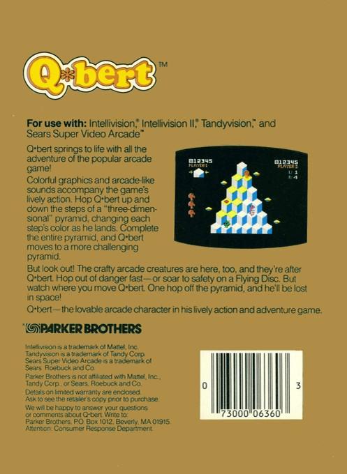 Back boxart of the game Q-bert on Mattel Intellivision