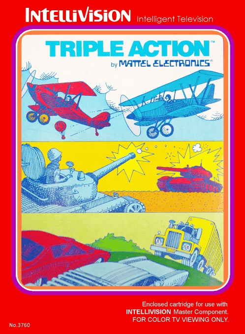 Front boxart of the game Triple Action on Mattel Intellivision