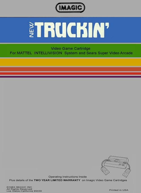 Back boxart of the game Truckin' on Mattel Intellivision