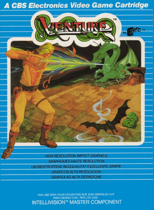 Front boxart of the game Venture on Mattel Intellivision