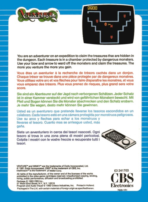 Back boxart of the game Venture on Mattel Intellivision