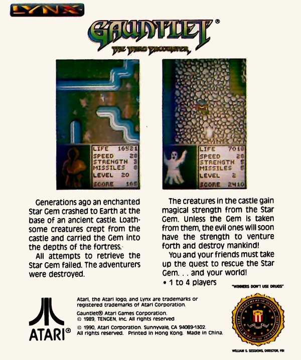 Back boxart of the game Gauntlet - The Third Encounter (United States) on Atari Lynx