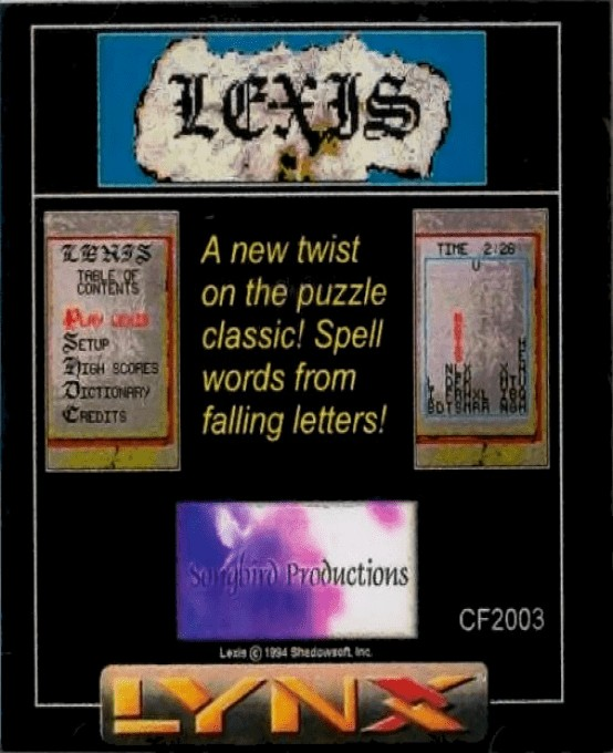 Front boxart of the game Lexis (United States) on Atari Lynx