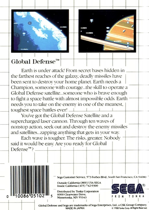 Back boxart of the game Global Defense (Europe) on Sega Master System