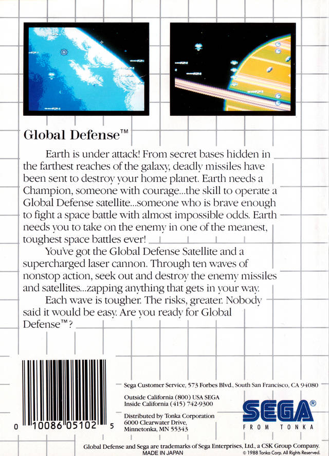 Back boxart of the game Global Defense (United States) on Sega Master System