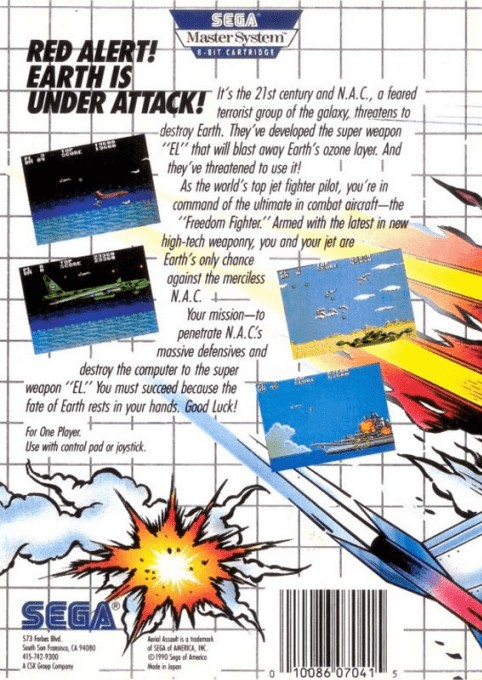 Back boxart of the game Aerial Assault (United States) on Sega Master System