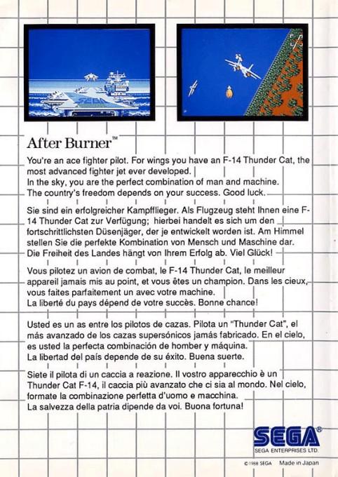 Back boxart of the game After Burner (Europe) on Sega Master System