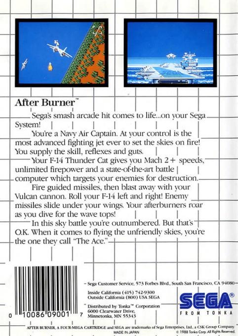 Back boxart of the game After Burner (United States) on Sega Master System