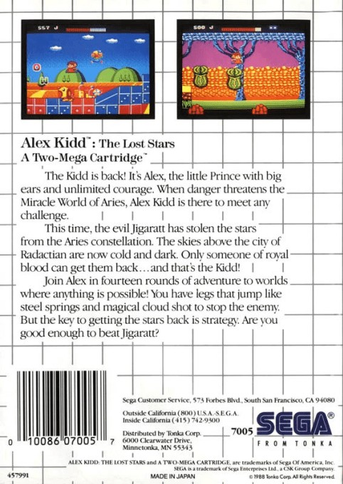 Back boxart of the game Alex Kidd - The Lost Stars (United States) on Sega Master System