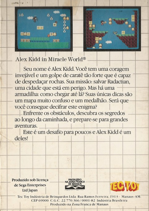 Back boxart of the game Alex Kidd in Miracle World (Brazil) on Sega Master System