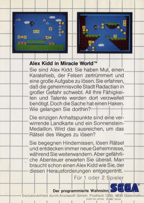 Back boxart of the game Alex Kidd in Miracle World (Germany) on Sega Master System