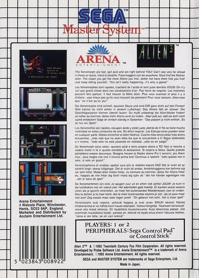 Back boxart of the game Alien 3 (Europe) on Sega Master System