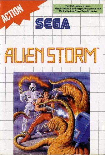 Front boxart of the game Alien Storm (Europe) on Sega Master System