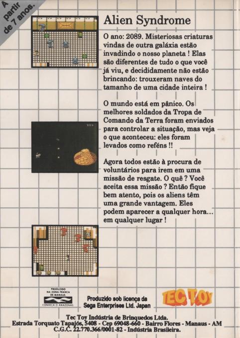 Back boxart of the game Alien Syndrome (Brazil) on Sega Master System