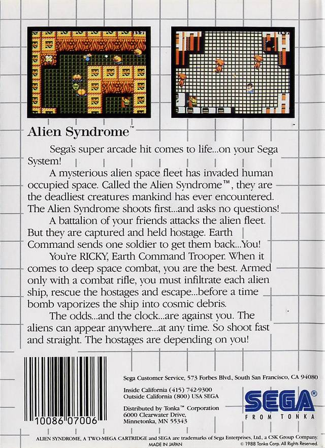 Back boxart of the game Alien Syndrome (United States) on Sega Master System