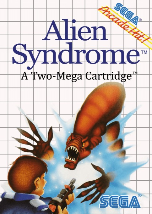 Front boxart of the game Alien Syndrome (Europe) on Sega Master System
