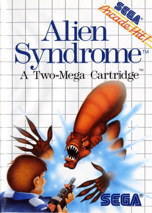 Front boxart of the game Alien Syndrome (United States) on Sega Master System
