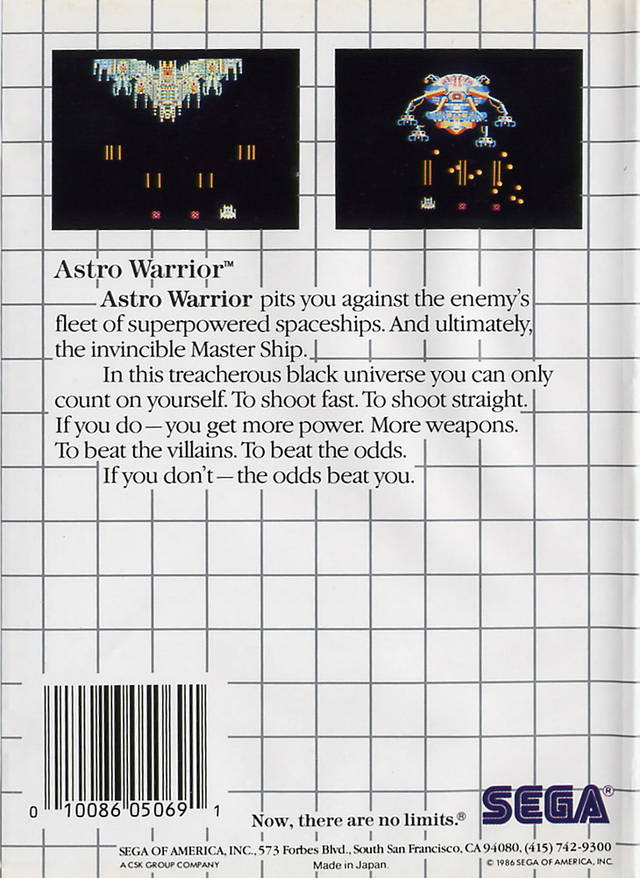 Back boxart of the game Astro Warrior (United States) on Sega Master System