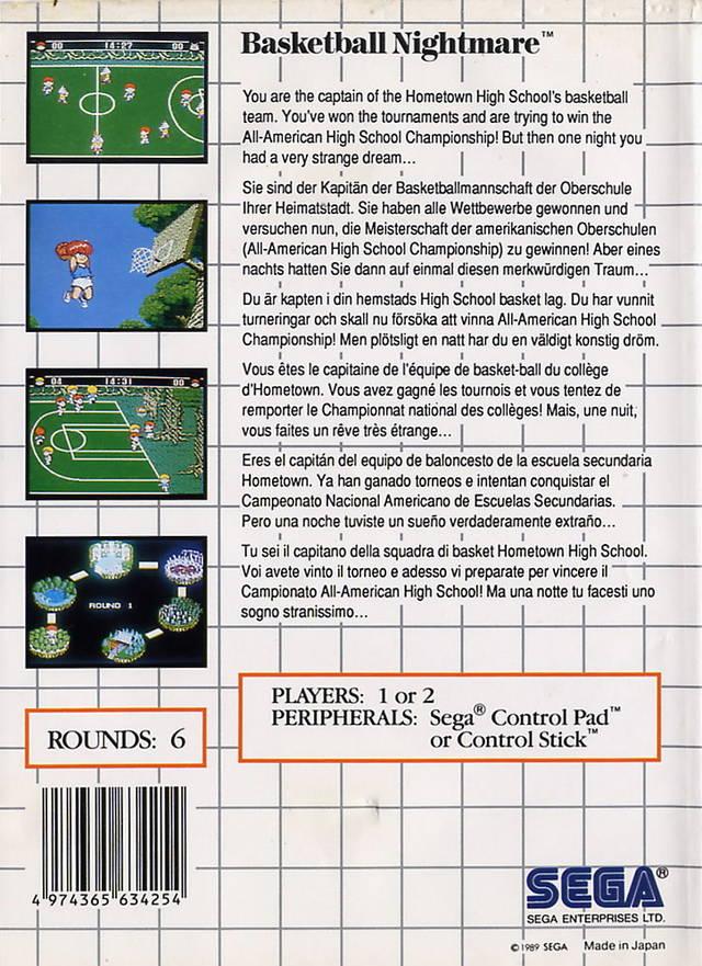 Back boxart of the game Basket Ball Nightmare (Europe) on Sega Master System