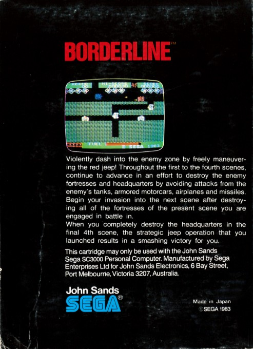 Back boxart of the game Borderline (Australia) on Sega Master System