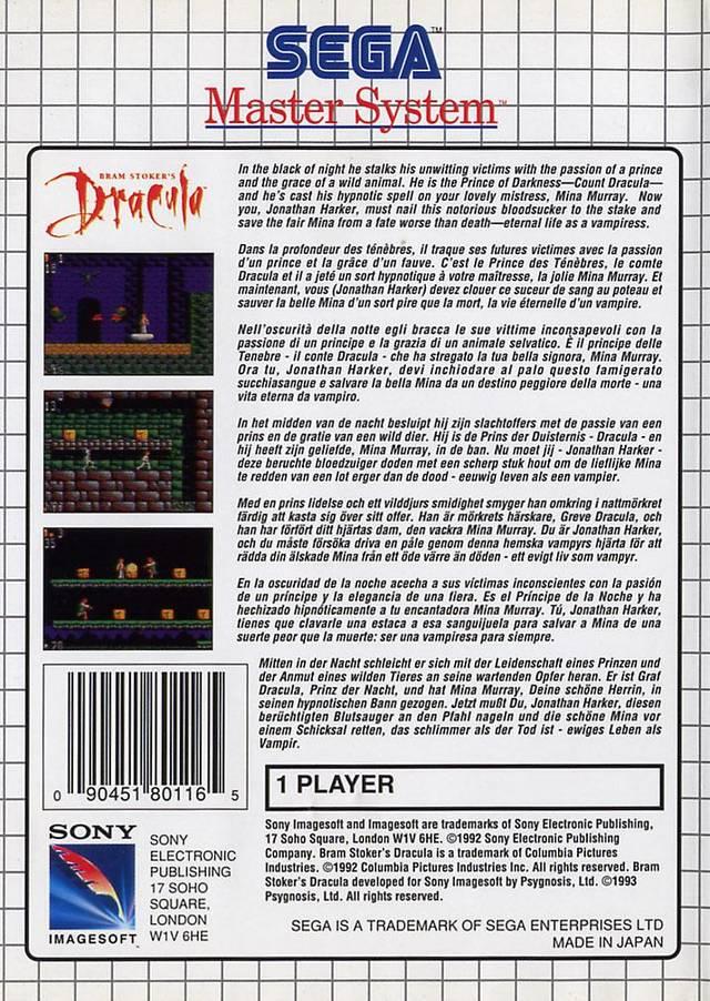 Back boxart of the game Bram Stoker's Dracula (Europe) on Sega Master System