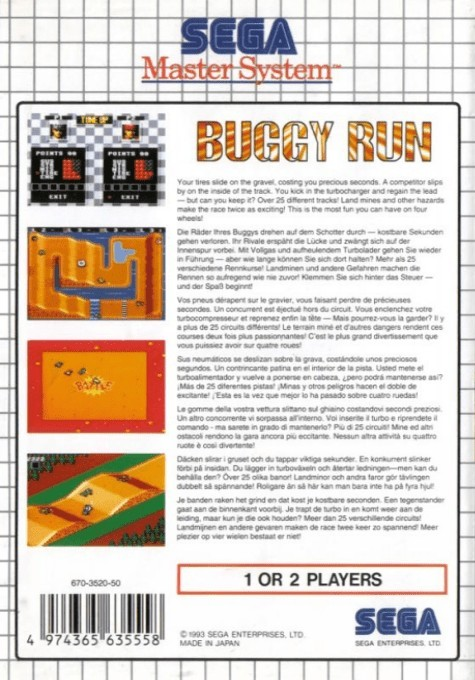 Back boxart of the game Buggy Run (Europe) on Sega Master System