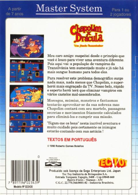 Back boxart of the game Chapolim x Dracula - Um Duelo Assustador (Brazil) on Sega Master System