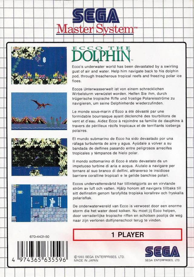 Back boxart of the game Ecco the Dolphin (Europe) on Sega Master System
