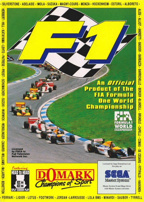 Front boxart of the game F1 Championship (Europe) on Sega Master System