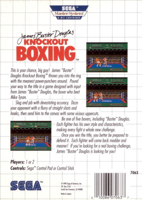 Back boxart of the game James 'Buster' Douglas Knockout Boxing (United States) on Sega Master System