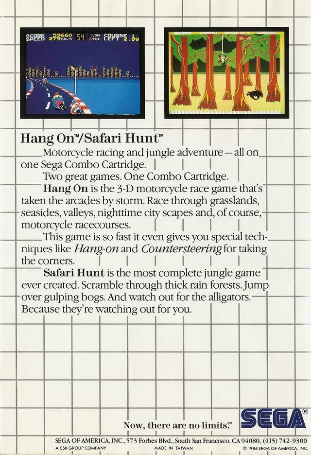 Back boxart of the game Hang-On & Safari Hunt (United States) on Sega Master System